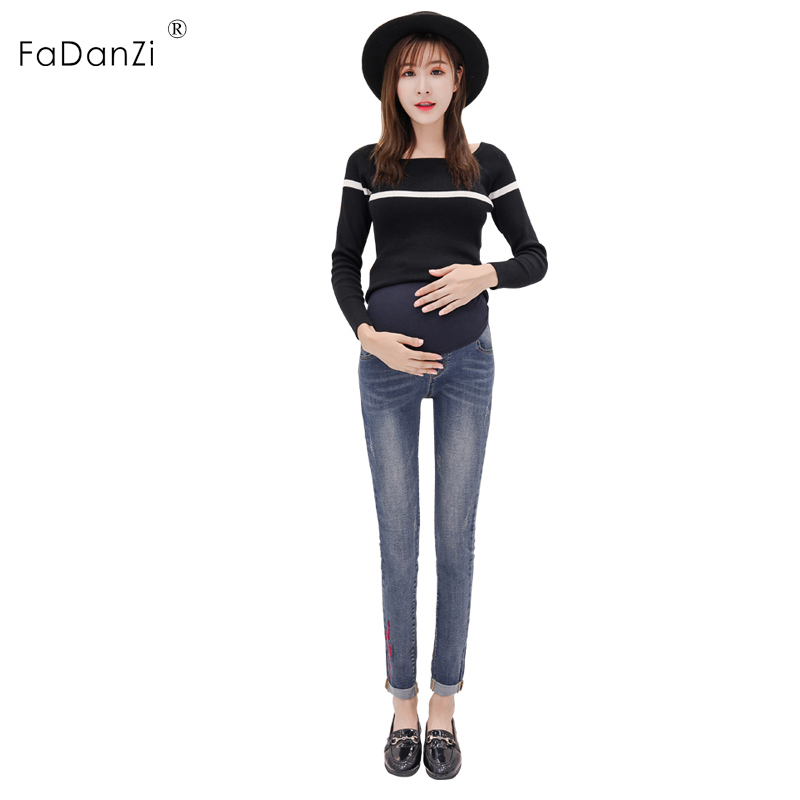 2018 new maternity pants pregnant women jeans slim pregnant women stomach lift pants ladies denim pants pregnant women pants217# pregnant women jeans fashion models autumn new embroidered trousers wear wild straight pants tide mother stomach pants