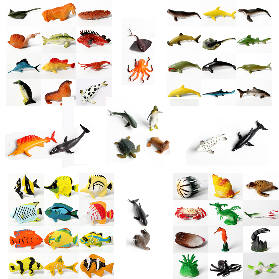 Underwater Deep Sea Creatures Tropical Fish,Shark Animal Action Figures Sea Creatures Educational Toys For Kids-Assorted Styles