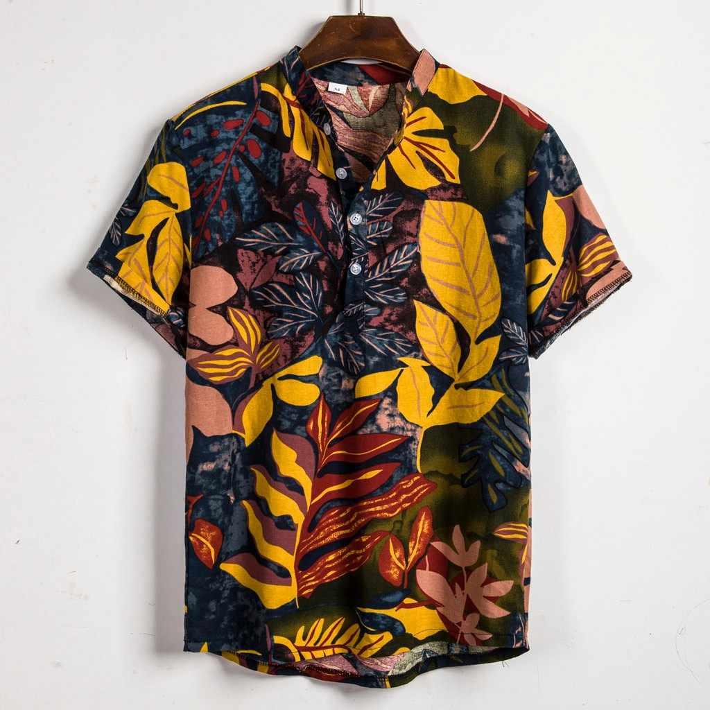 Гавайская рубашка, лето 2019, Пляжная Мужская рубашка, блуза, мужская, с этническим принтом листьев, короткий рукав, рубашка, Ретро стиль, блузка, camisa masculina
