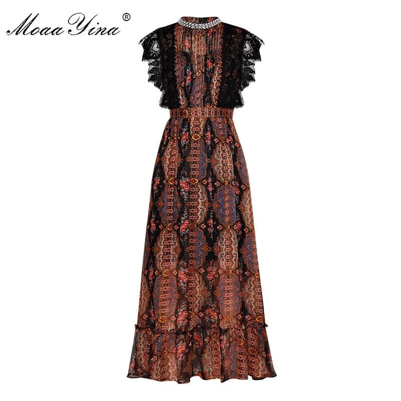 MoaaYina Mode Designer Runway kleid Frühling Sommer Frauen Kleid perle Perlen Spitze Geraffte Druck Vintage Elegante Kleider-in Kleider aus Damenbekleidung bei  Gruppe 1