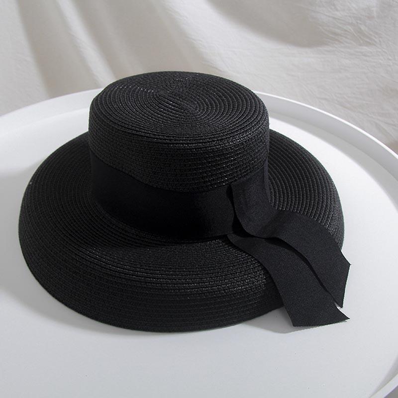 British Wide Ribbon Design Summer Black White Hepburn Elegant Lady Straw Hat Leisure Hats Women Bucket Hat
