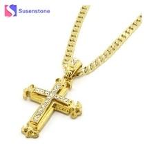 Cross Necklace Women/Men Jewelry joyeria   Jesus Cross Pendant Chain Sharp Sides Rhinestone Hip-hop Necklace Chain