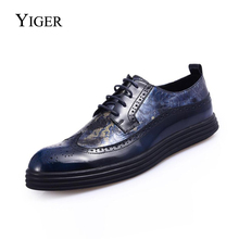 YIGER NEW Men Shoes Four Seasons Genuine leather Bullock British Fashion Carved casual shoes low help thick bottom  0029
