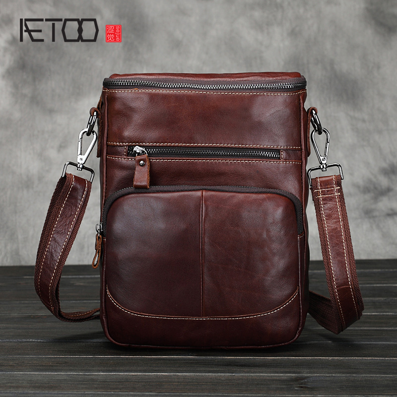 AETOO Shoulder bag men's oil wax head layer of leather Messenger bag men's leather business package brief tide package men leather handbag shoulder bag casual first layer of leather men s oil wax messenger bag korean man bag tide