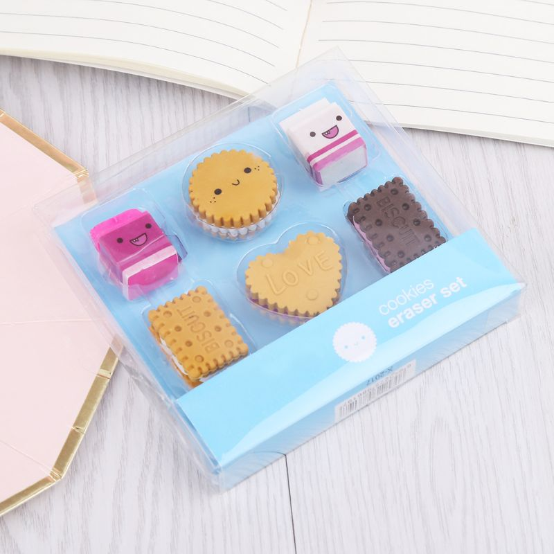 6pcs/set Kawaii Biscuit Milk Rubber Pencil Eraser Kids Student School Stationery