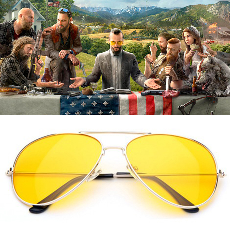 Game FAR CRY 5 Cosplay Prop Sunglasses Joseph Seed Eyewear Yellow Accessories Driver glasses image
