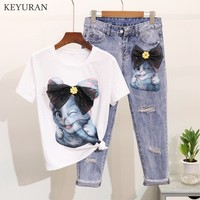 Plus Size 4XL Summer 2019 New Drill in Cartoon Cat Short sleeve T shirt + Hole Nine cent Jeans Suit Women's Two Piece Sets