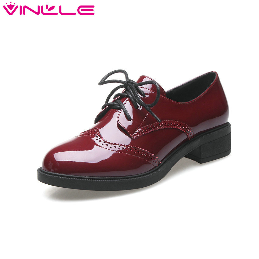 VINLLE 2017 Women Pumps Black  Lace Up Oxfords Square Med Heel British Style Shoes Round Toe Party Women Pumps Size 34-40 vinlle 2017 sweet rome style women pumps party summer shoes pointed toe square low heel lace up wedding woman shoes size 34 43