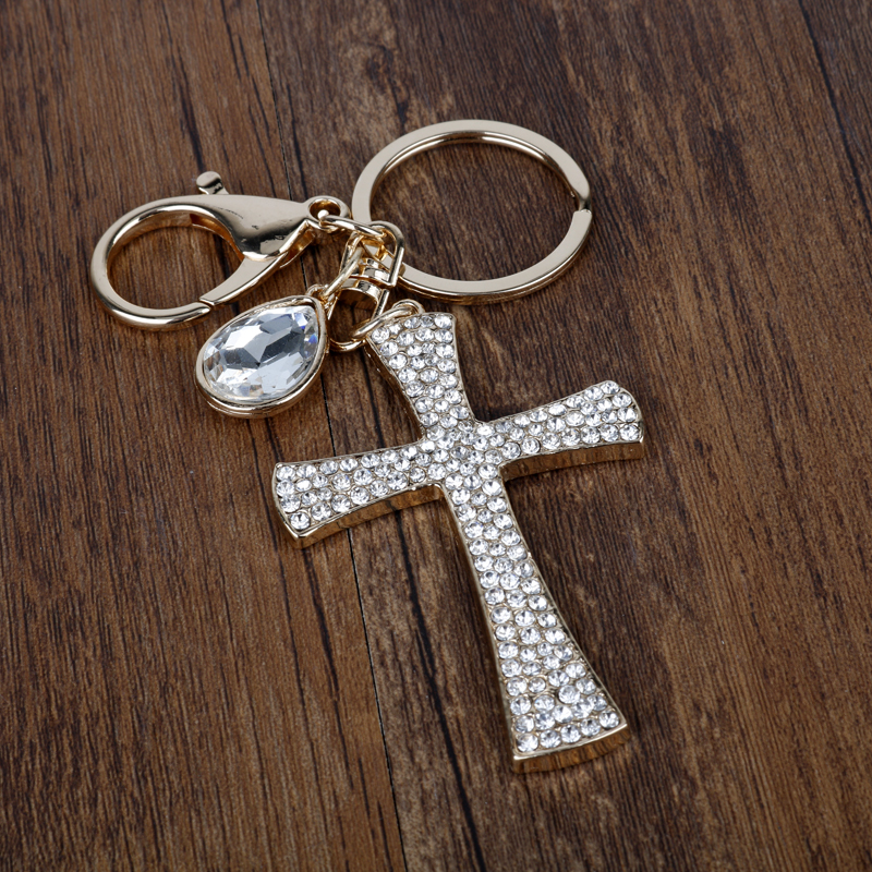 Wholesale Crystal Jesus Cross Key Chain Fashion Rhinestone Keychain Novelty Christian Gift For Women Bag Purse Charms Pendant