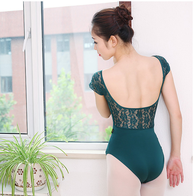 Pure Color Lace Adult Gymnastics Leotard Women / Girls Ballet Dance Training Dresses Lady Ballerina Costumes for Stage 89