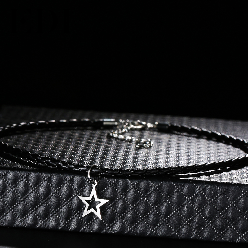 Women Popular 925 Sterling Silver Leather Chokers Necklaces Star Pendants 36cm Adjustable Rope For Wedding Gift GZP0081