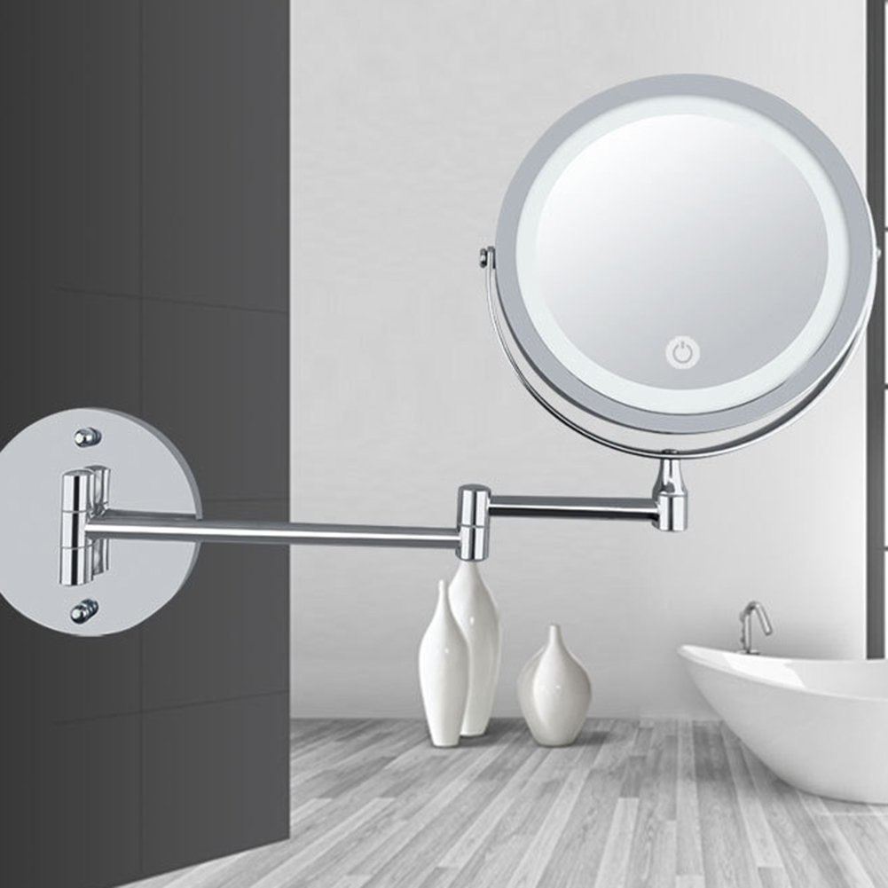 2019 LED Double Sided Makeup Vanity Mirror Wall Mount 10x Magnification Swivel Extension Mirror