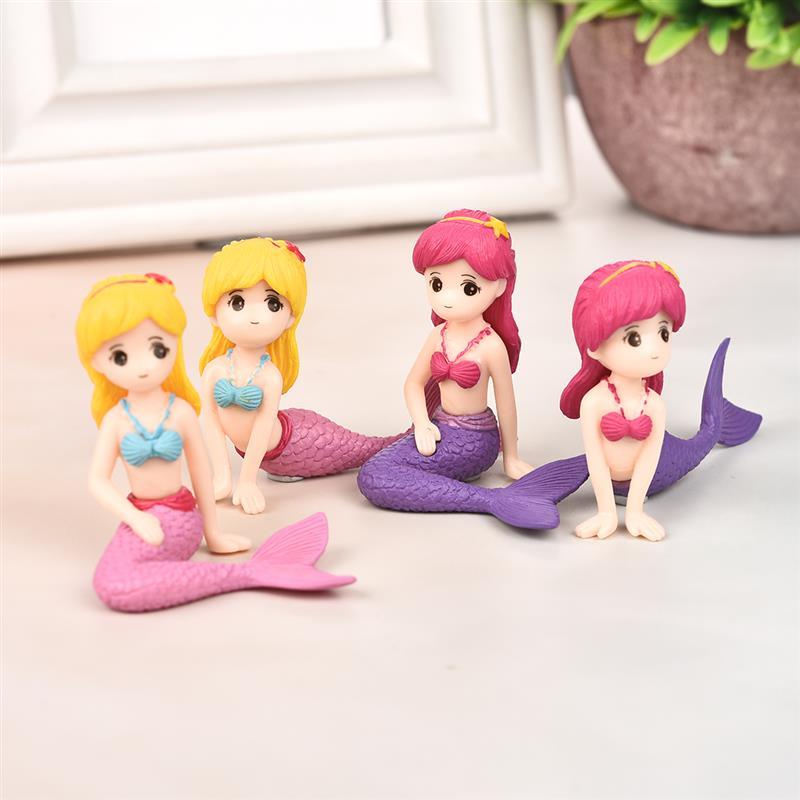 4pcs/set Sexy Mermaid Fairy Garden Miniatures Gnomes Moss Terrariums Resin Crafts Figurines For Home Decoration Mini Figures