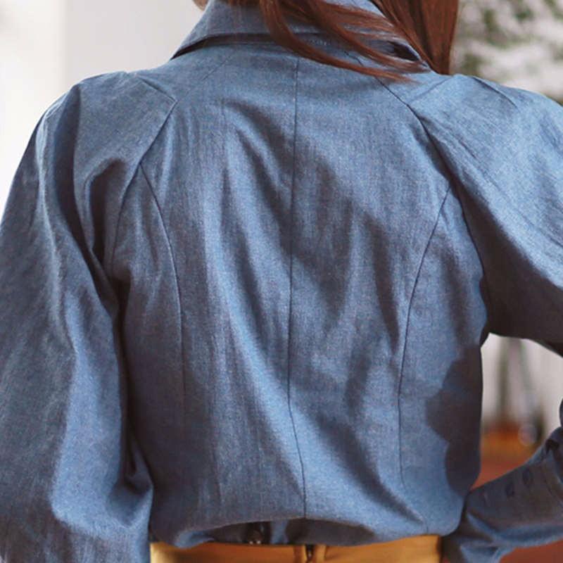 blue Lantern Sleeve fall blouse 5