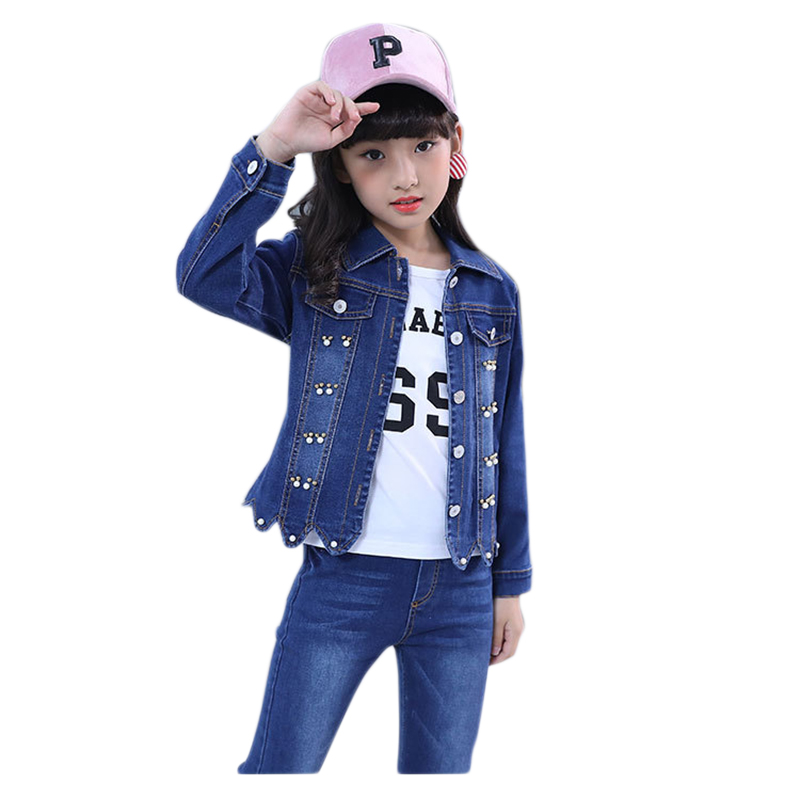 Girls Denim Suits Jacket + Jeans + Shirt 3pcs Autumn Winter children clothes Fashion Kids Clothing Set teen 6 8 10 12 14 Years 2018 autumn winter denim kids clothes embroidery floral jacket jeans 2pcs girls spring teenage girls clothing 6 8 10 12 years