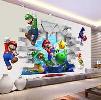 3d voir dessin animé Art Stickers muraux mur Super Mario Bros garçon chambre enfants Art sticker Mural enfants pépinière Stickers décor à la maison