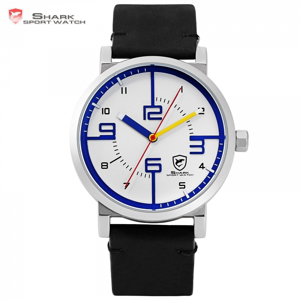 Bahamas Saw SHARK Sport Watch Fashion Designer White Blue Simple Dial Men Crazy Horse Black Leather Band Quartz Watch Gift/SH570 gift hot crazy selling army leather belt table trend of retro fashion blue big dial quartz watch clock men military sport watch
