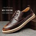 2017 Nueva Moda Urbana de Los Hombres Zapatos Casuales de Cuero Genuino Casual de Negocios Brogue Zapatos de Vino Tinto Y Café