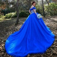 Royal Blue Wedding Gowns Off Shoulder Straps Puffy Princess Bridal Dresses Cinderella Sequins Beaded Bodice Tulle