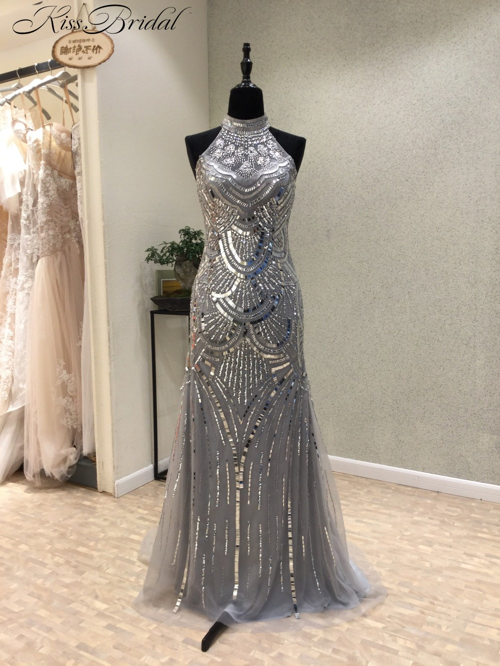 New Fashion Long Evening Dress 2018 High Neck Sleeveless Sweep Train Beading Tulle Mermaid Prom Dresses Party Gowns Vestidos