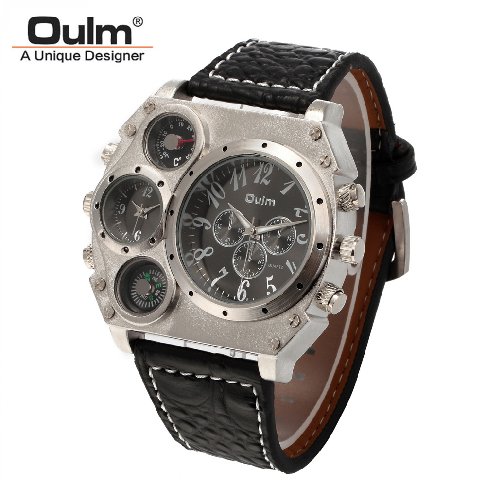 New Model OULM Watch Men Quartz Sports Leather Strap Watches Fashion Male Military Wristwatch Fashion Clock Masculino Relojes binger nylon strap watch hot sale men watch unisex hour sports military quartz wristwatch de marca fashion female male relojes