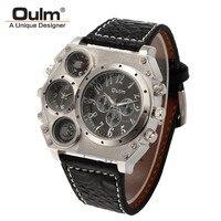 New Model OULM Watch Men Quartz Sports Leather Strap Watches Fashion Male Military Wristwatch Relojioes Clock