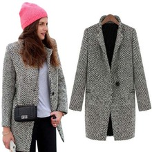 Hot Fashion Women Wool Blend Trench Overcoat Ladies Turn -Do