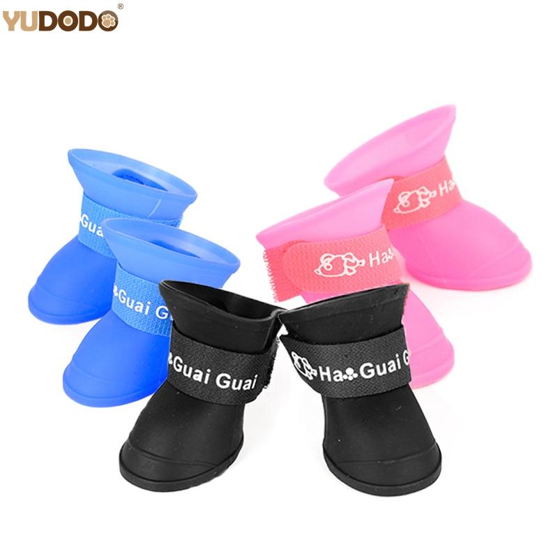 4pcs/Set Dogs Shoes Candy Colors Rubber Waterproof Soft Pet Rain Boots For Puppy Cats S/M/L|pets rain boots|dog shoescat boots for cats - AliExpress