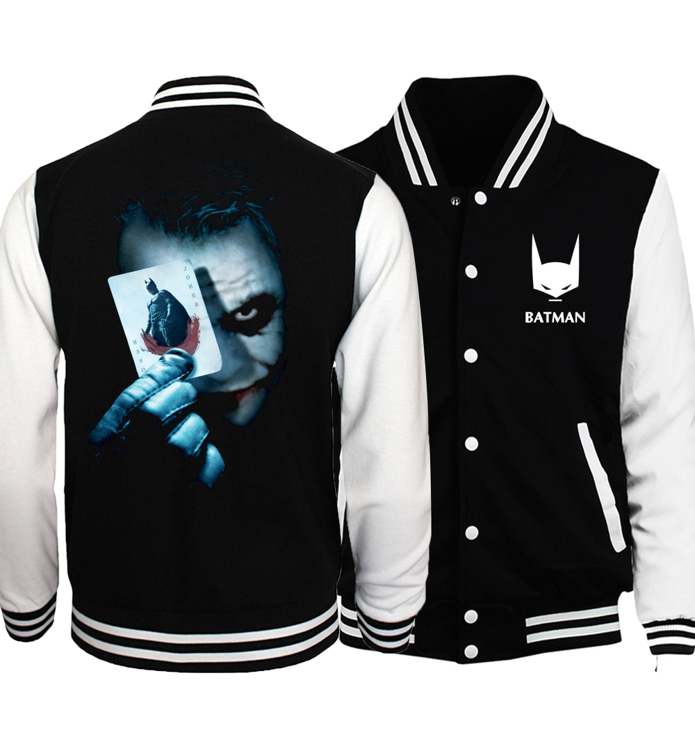 The Joker Poker Print Men Jacket 2017 Spring Fashion MMA Super Villain Heath Ledger Brand Clothing Sweathsirts Funny Hoodies