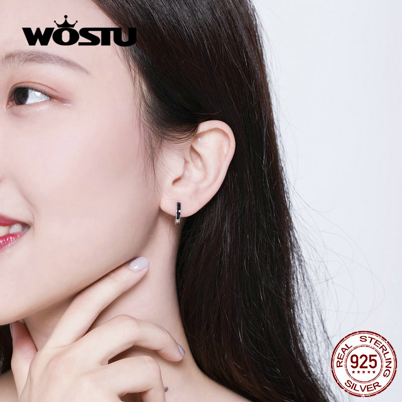 WOSTU Fashion Black Circle Hoop Earrings 100% 925 Sterling Silver Small Earrings For Women Wedding  Engagement Jewelry CQE673