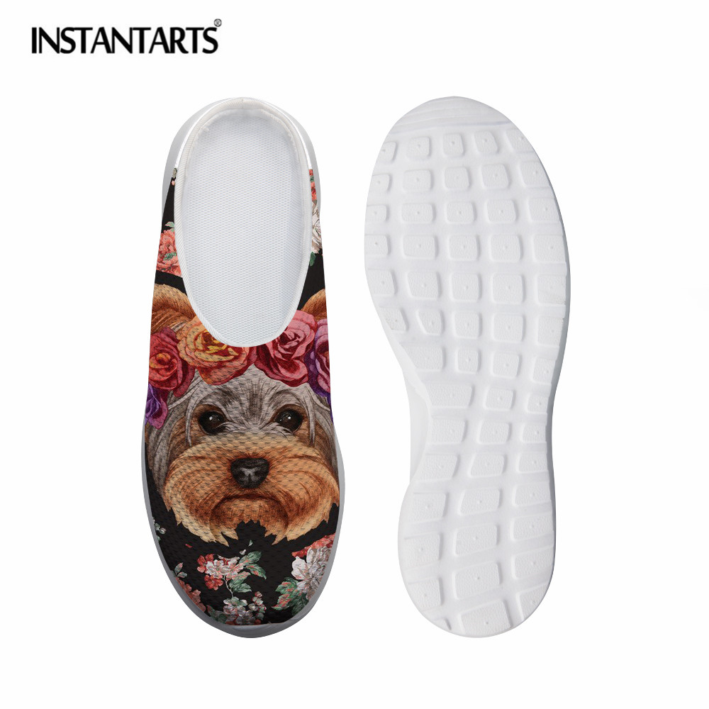 INSTANTARTS Yorkshire Terrier 3D Printed Summer Women Sandals Comfortable Slip-on Slippers Breathable Mesh Shoes Outside Flats instantarts women flats emoji face smile pattern summer air mesh beach flat shoes for youth girls mujer casual light sneakers