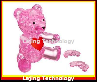 3D Crystal Puzzle Build Up Cute Teddy Bear Model Gadget Jigsaw educational gift Pink Free shipping 1piece