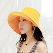 BINGYUANHAOXUAN 2019 New Summer Hats for Women Cotton Bucket Hat Wide Birm Chapeau Fishing Female Panama