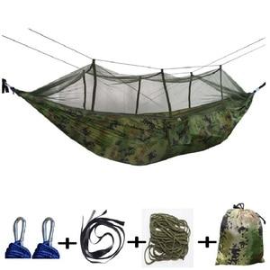 Image 2 - 屋外蚊帳パラシュートハンモック 1 2 人のキャンプぶら下げ睡眠ベッドスイングダブル椅子 Hamac アーミーグリーン