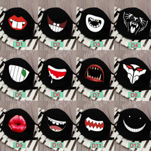 Moledodo Unisex Black Face Mask Cute Anime Mouth Cotton Fabric Anti Dust Pollution Masks For Adult Keep Warm D50