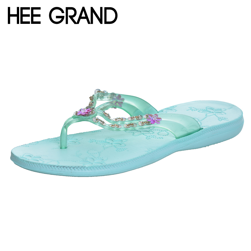 HEE GRAND Flower Flip Flops Platform Slides Comfort Casual Shoes Woman Summer Bling Bling Creepers Slip On Flats XWT967 hee grand summer gladiator sandals 2017 new beach platform shoes woman slip on flats creepers casual women shoes xwz3346
