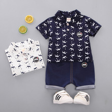 Oklady Newborn Baby Sets 2019 Boys Clothes Set Summer Cotton Crown Print Infant White Fashion Clothing Kids 1T 2T 3T 4T