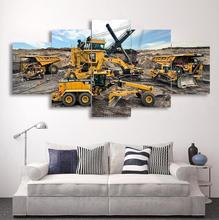 5d Diy Diamond Engineering Vehicle Excavator Rhinestone 5D Painting  Mosaic Needlework Art 5 Piece