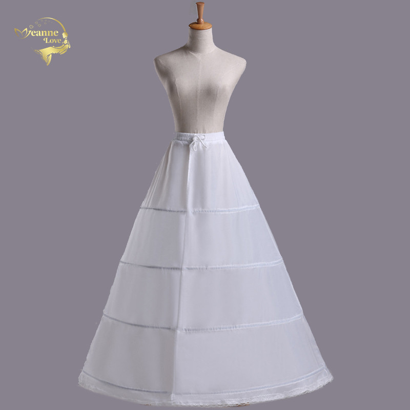 Free Shipping High Quality White 4 Hoops One Layer 1M Women Petticoat Crinoline Slip Underskirt For Wedding Dress Elastic Waist