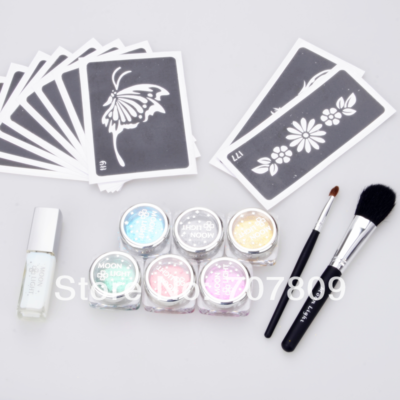 2sets wholesale c glitter tattoo kit 6 color powder with for Wholesale temporary tattoos