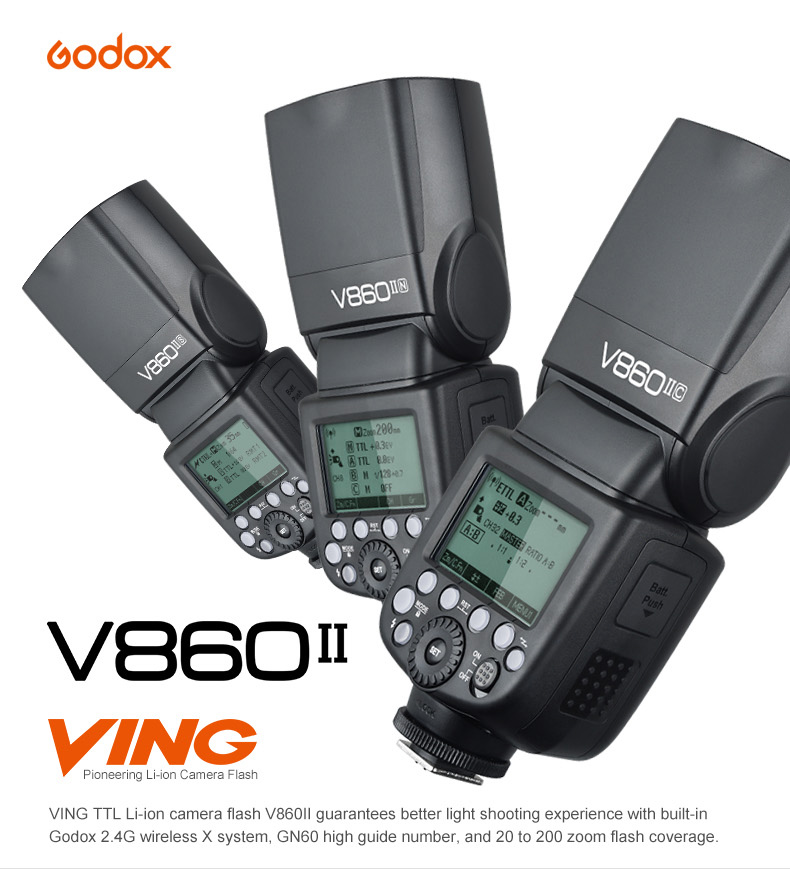 Godox Ving V860II V860II-N i-TTL HSS 1/8000 Li-ion Battery Speedlite Flash for Nikon D800 D810 D700 D750 D500 D5300 D610 DSLR 2pcs godox v860ii v860ii n gn60 i ttl hss 1 8000s flash speedlite li ion battery x1t n flash transmitter for nikon gift kit