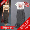 Fashion print loose top polka dot fish tail bust skirt set