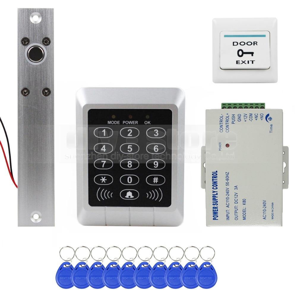 ФОТО DIYSECUR 125KHz RFID Remote Controlled ID Card Reader Password Keypad Access Control Security System Kit + Free 10 Key Fobs