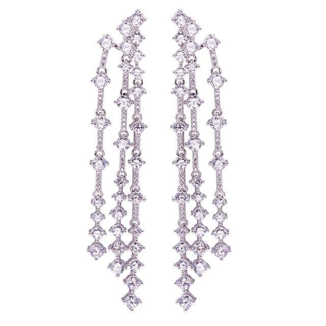 South Korea temperament long Tassel Earrings female elegant pearl earrings sexy not allergic