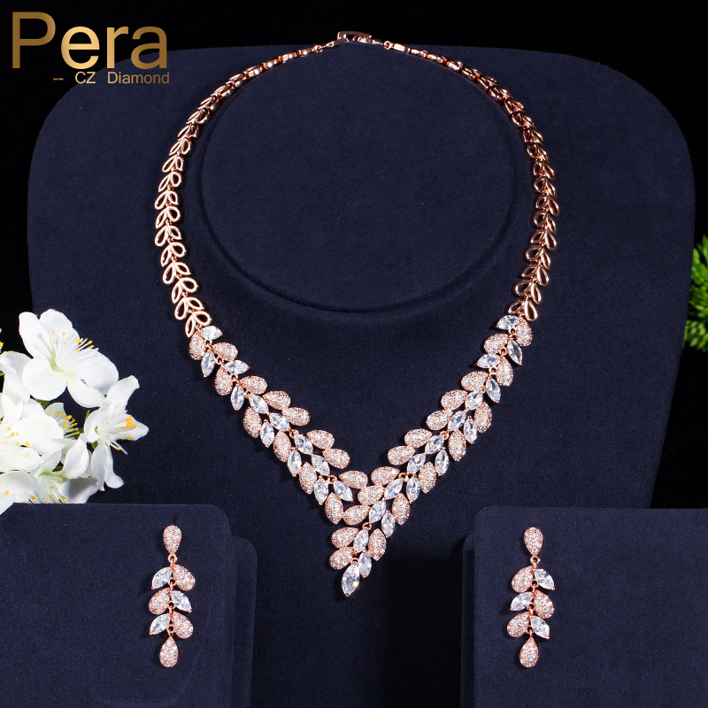 Pera Luxury Dubai Women Wedding Set Big Cubic Zirconia Stone Leaf Shape Long Drop Necklace And Earrings For Brides Jewelry J246 a suit of stunning rhinestoned ball shape necklace and earrings for women