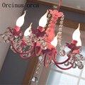 Корейская розовая хрустальная люстра для детской комнаты принцессы для девочек  спальни  гостиной  столовой  средиземноморская садовая люс...