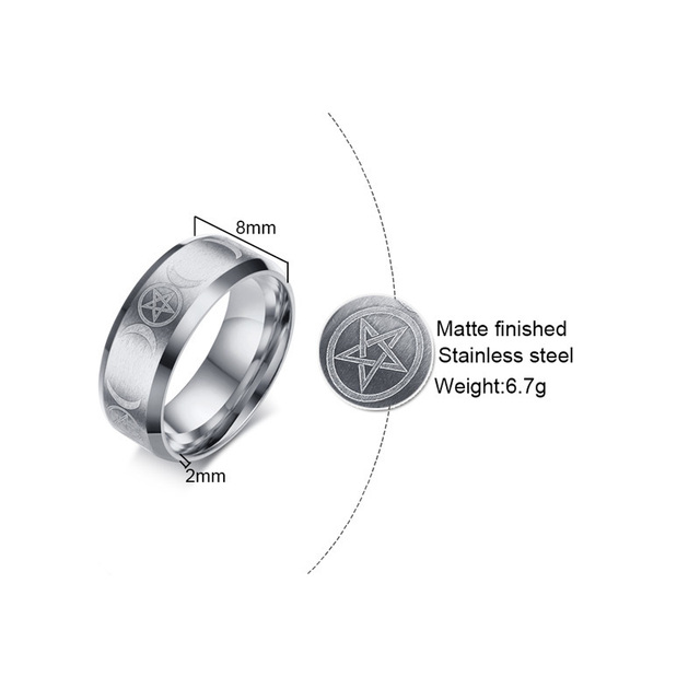 Ring for Men Stainless Steel Crescent Moon and Pentagram