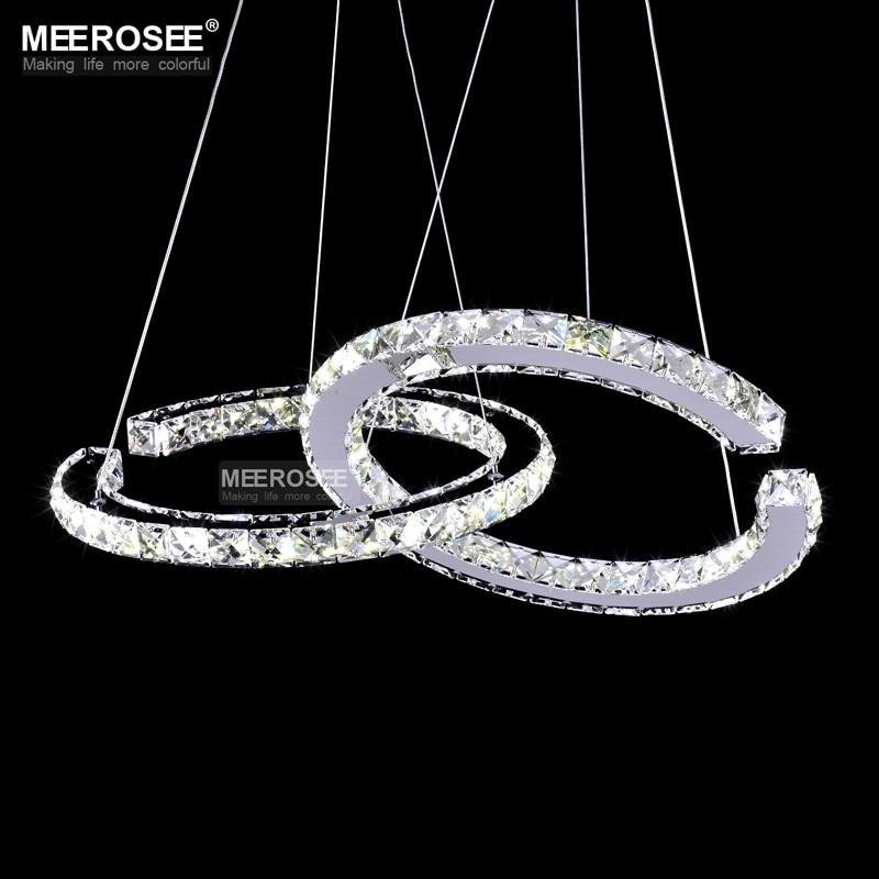 MEEROSEE Crystal Lighting Modern LED Diamond Pendant Light Fitting LED Crystal Fixture Lustres Hanging Drop abajur Lamp For Dini