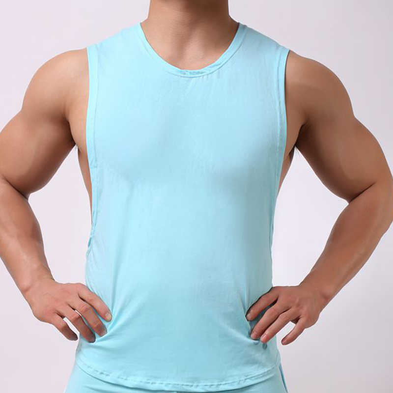 83f941482c ... Hot sale Mens Sexy Cotton Casual Tank Top Men Sleeveless Tops  Bodybuilding Undershirts Gay mens Low ...