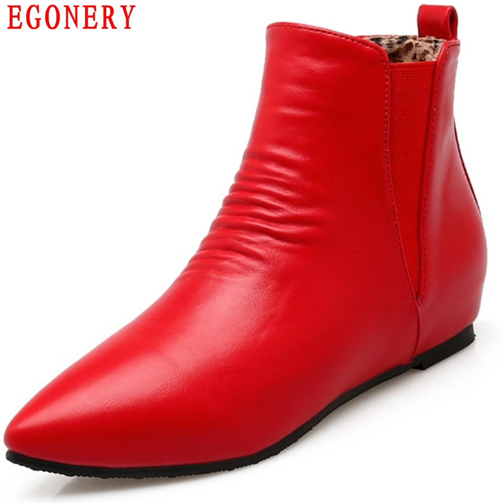 EGONERY Quality Soft Faux Leather Pointed Toe Flats Ankle Womens Shoes Fashion Style Chelsea Boots Top Size 47 new 2017 spring summer women shoes pointed toe high quality brand fashion womens flats ladies plus size 41 sweet flock t179